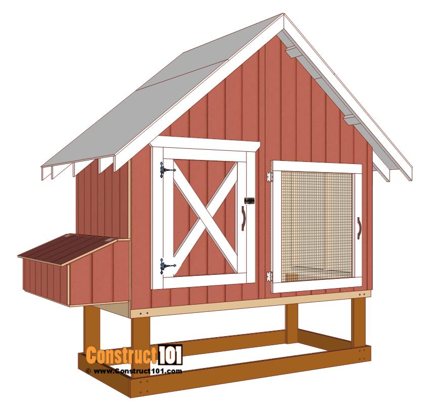 4x8 chicken coop plans, install the wire mesh door to coop.