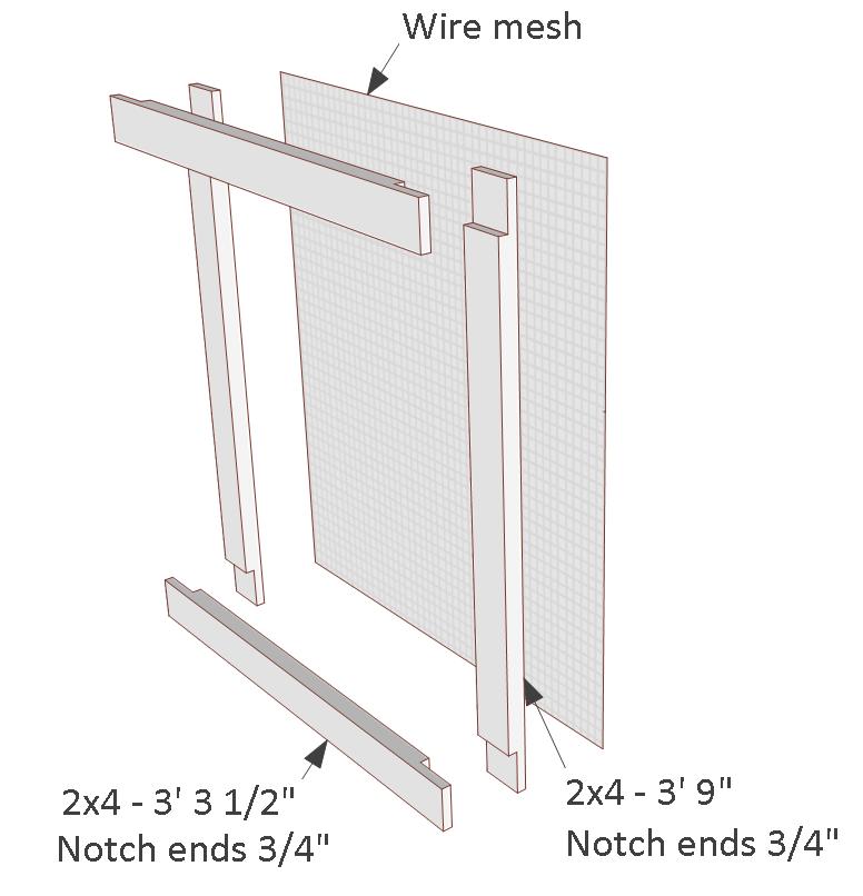 4x8 chicken coop plans, details for building the coop wire mesh door.