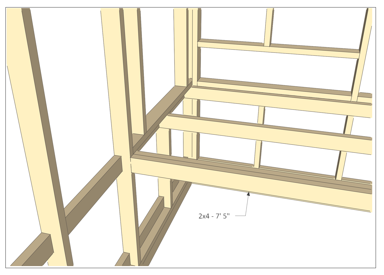 8x10 chicken coop plans - coop floor joist 2.