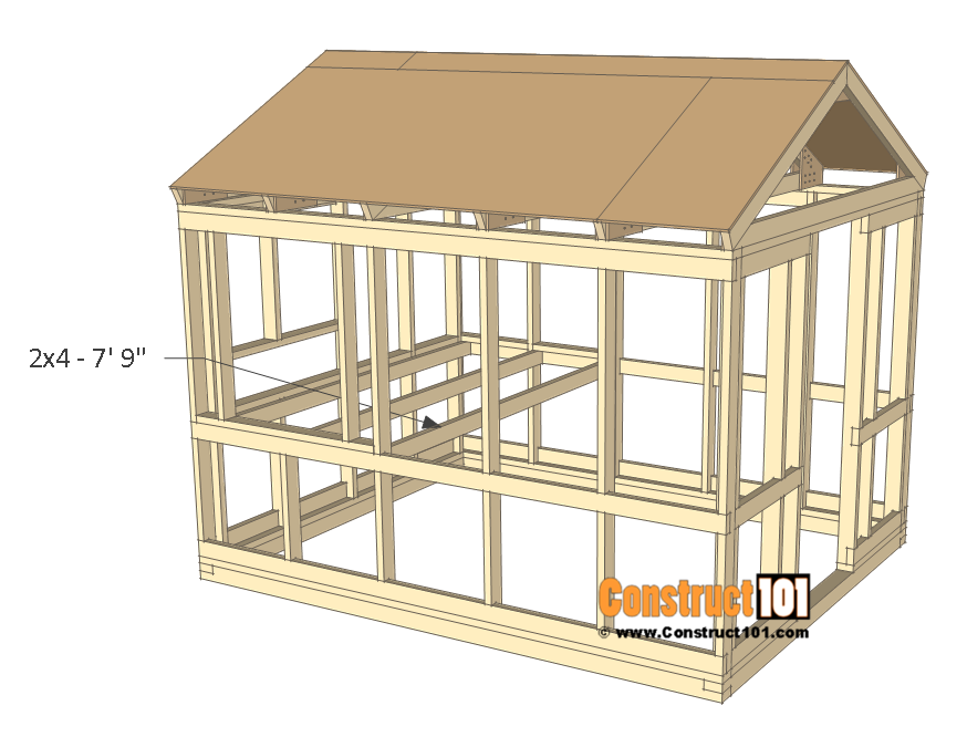 8x10 chicken coop plans - coop floor joist.
