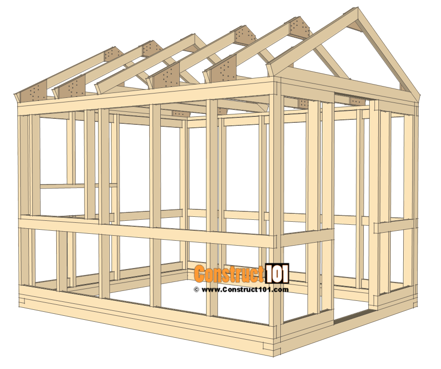 8x10 chicken coop plans - install roof truss.