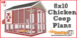8x10 chicken coop plans free PDF download, material list, and drawings.