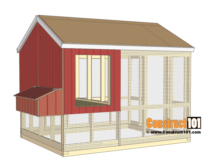 8x10 chicken coop plans - front and back siding.