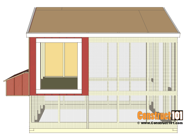 8x10 chicken coop plans - add trim around door opening.