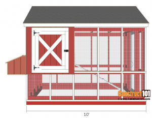8x10 chicken coop plans - front view.