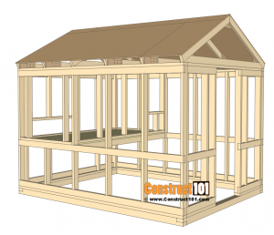8x10 Chicken Coop Plans Gable Roof Inside Wall Frame