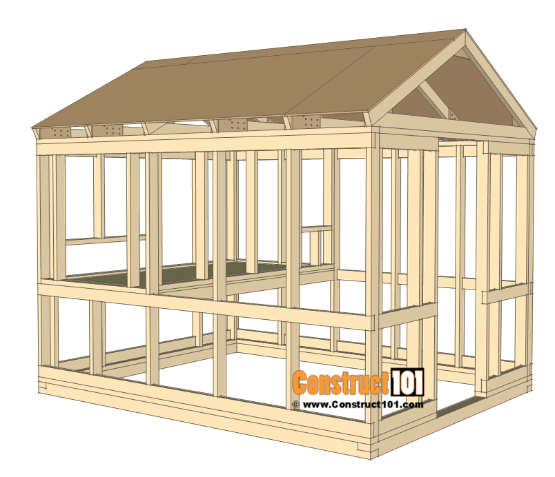 8x10 chicken coop plans - inside wall frame installed.