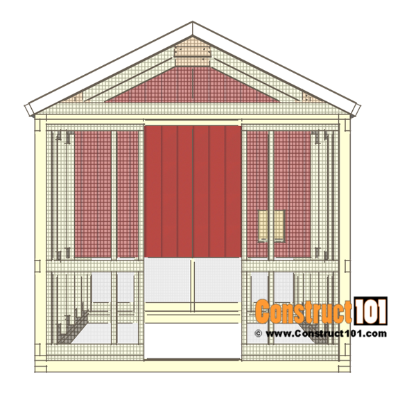 8x10 chicken coop plans - inside wall siding.