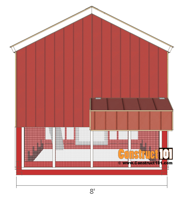 8x10 chicken coop plans gable roof free pdf construct101 for Chicken coop for 8 10 chickens