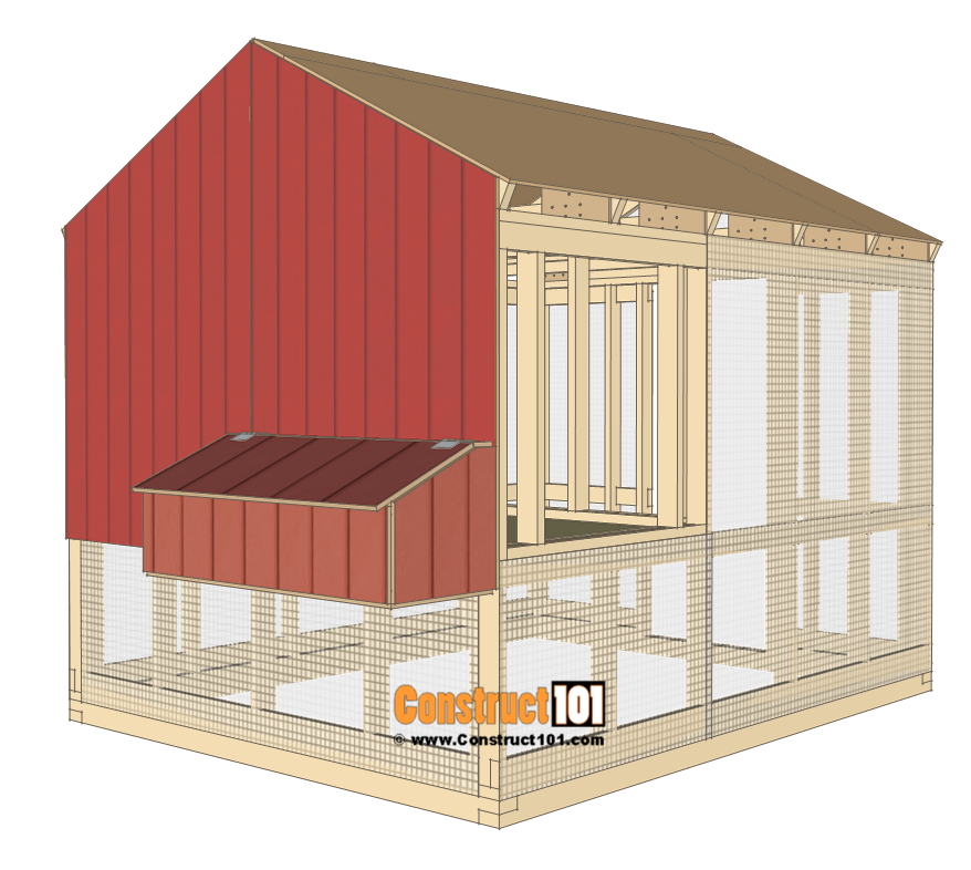 8x10 chicken coop plans - left siding.