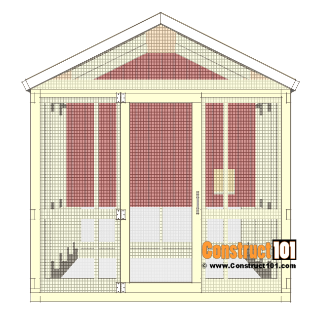 8x10 chicken coop plans gable roof - right side door.