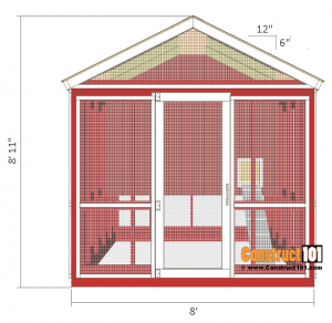 8x10 chicken coop plans - right view.