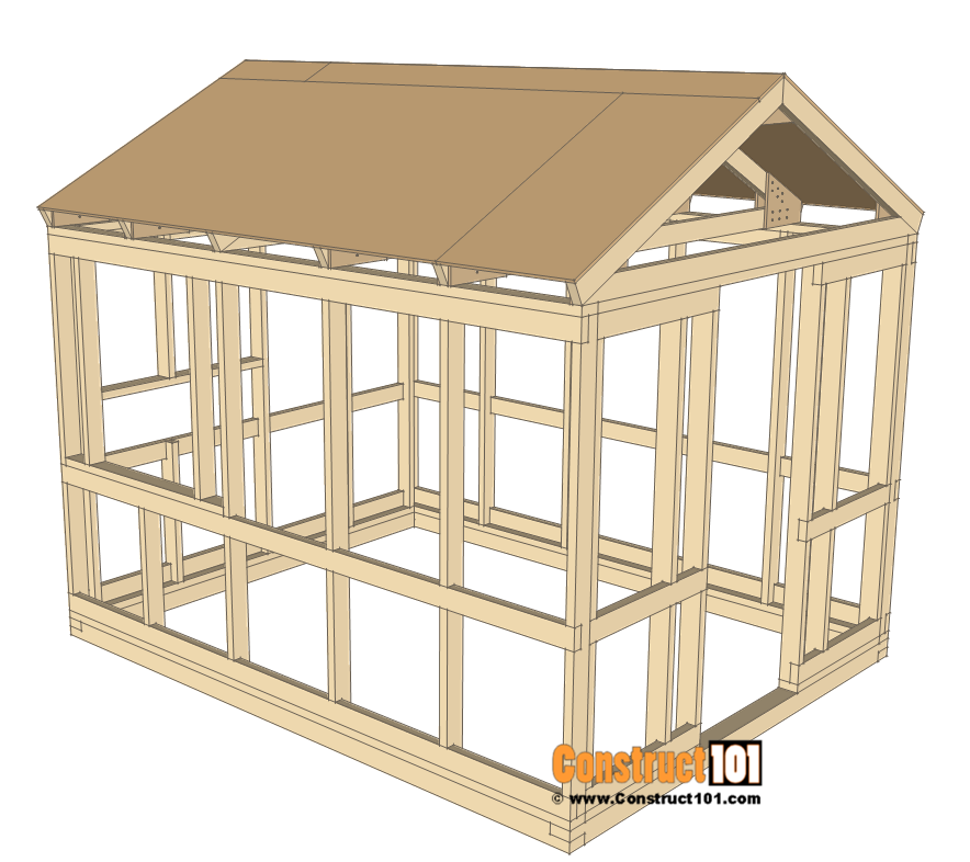 8x10 chicken coop plans - roof deck.