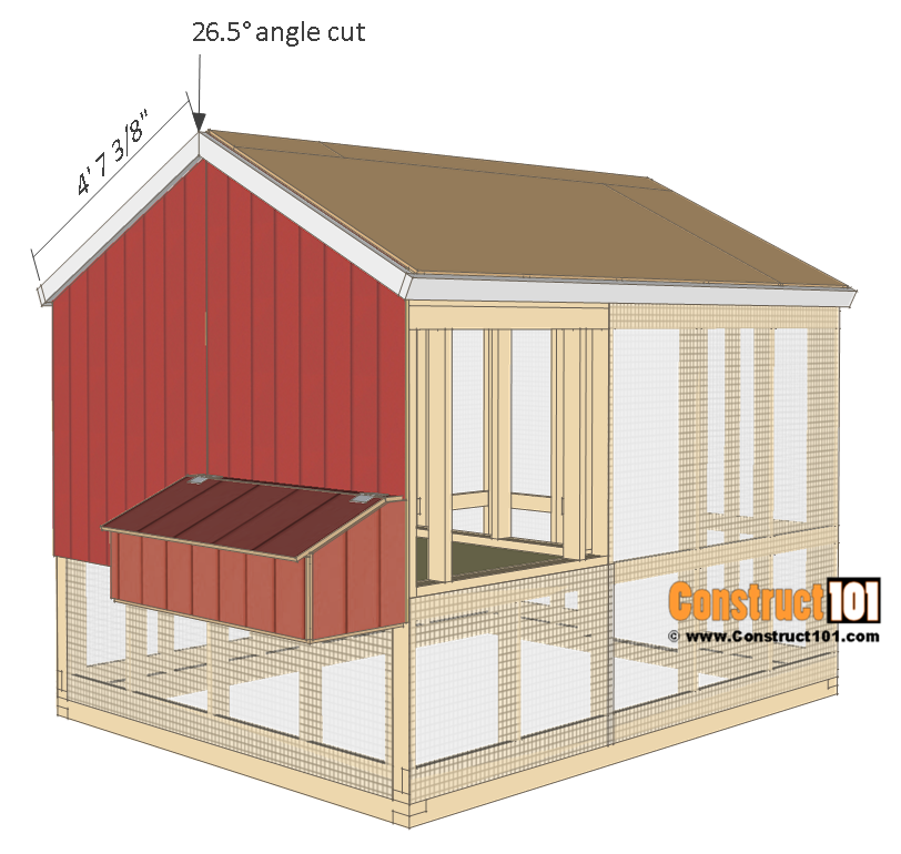 8x10 chicken coop plans - roof trim.