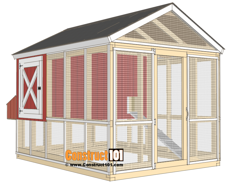 8x10 chicken coop plans gable roof - shingles and trim.