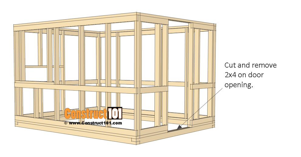 8x10 chicken coop plans - wall frame.