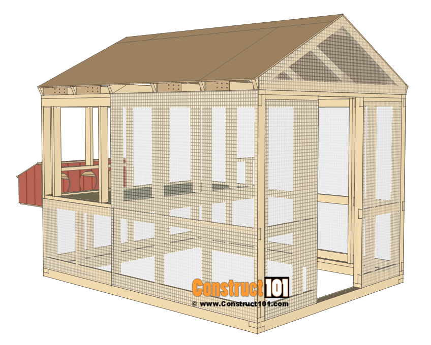 8x10 chicken coop plans - install wire mesh.