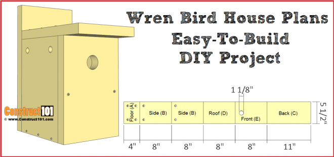 wren bird house plans - free PDF download and material list.