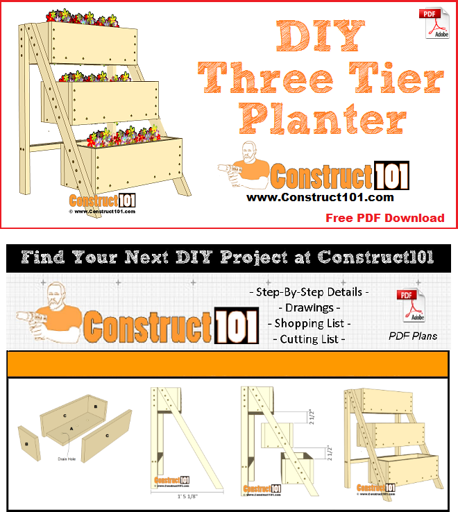3 tier planter plans, free PDF download, material list, drawings, and step-by-step instructions.