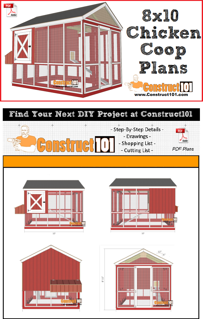 8x10 chicken coop plans, free PDF download, material list, and step-by-step drawings.