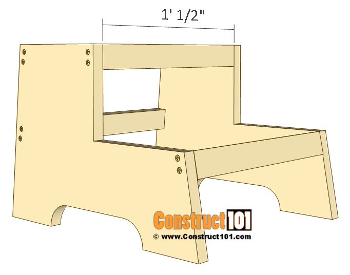 Kids step stool plans - 1x2 board details.