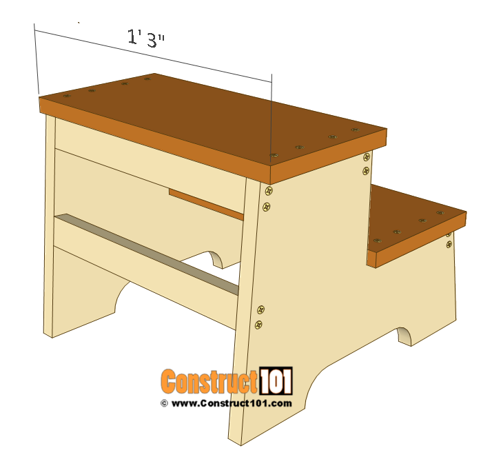 Kids step stool plans - 1x8 board details.