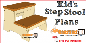 Kids step stool plans, free PDF download, and step-by-step drawings.