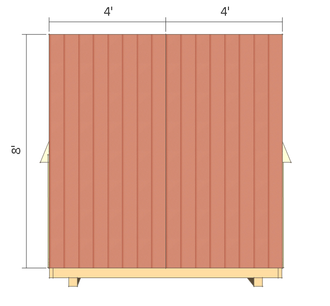 8x8 shed plans - small barn - back wall siding.
