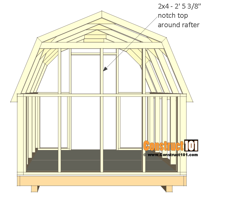 8x8 shed plans - small barn - back wall top studs.