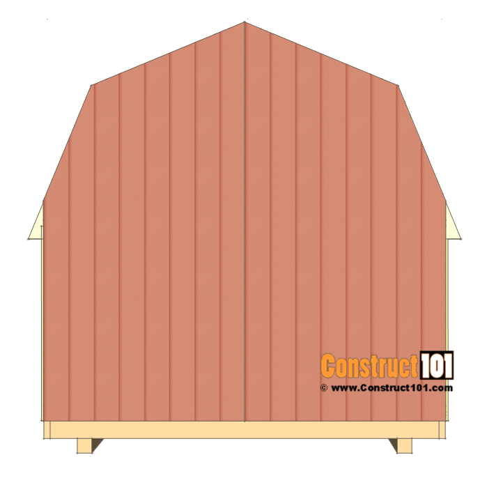 8x8 shed plans - small barn - cut back wall siding.