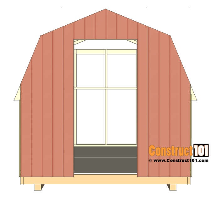 8x8 shed plans - small barn - cut front wall siding.