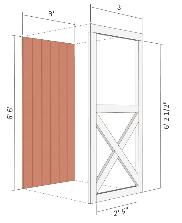 8x8 shed plans - small barn - door.