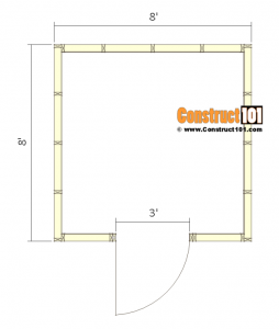 8x8 Shed Plans - Small Barn - Floor View