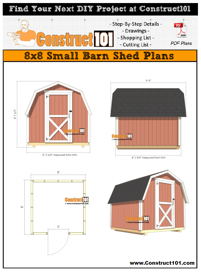 8x8 Shed Plans Small Barn Free Pdf Download Material List