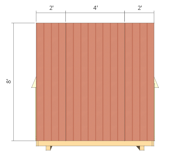 8x8 shed plans - small barn - front wall siding.