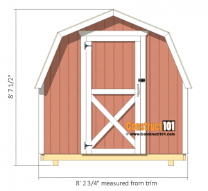 8x8 Shed Plans - Small Barn - Front View