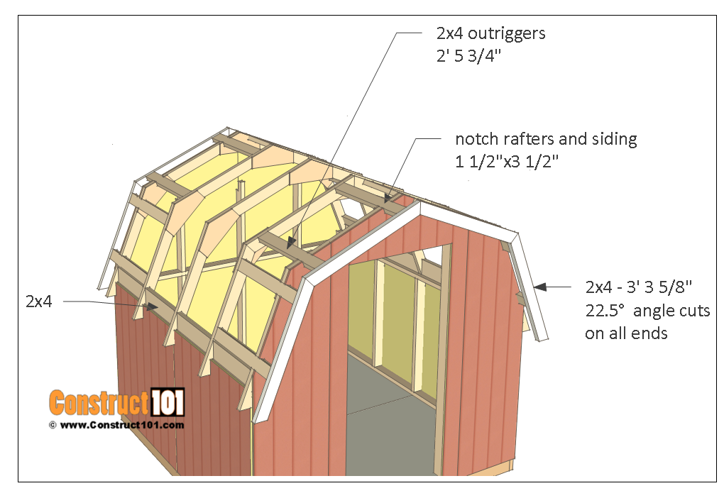 8x8 shed plans - small barn - roof outriggers.