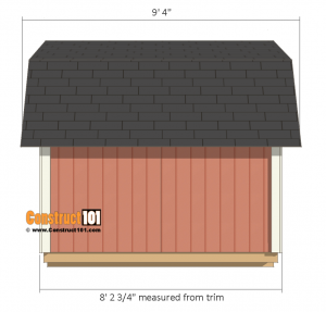 8x8 Shed Plans - Small Barn - Side View