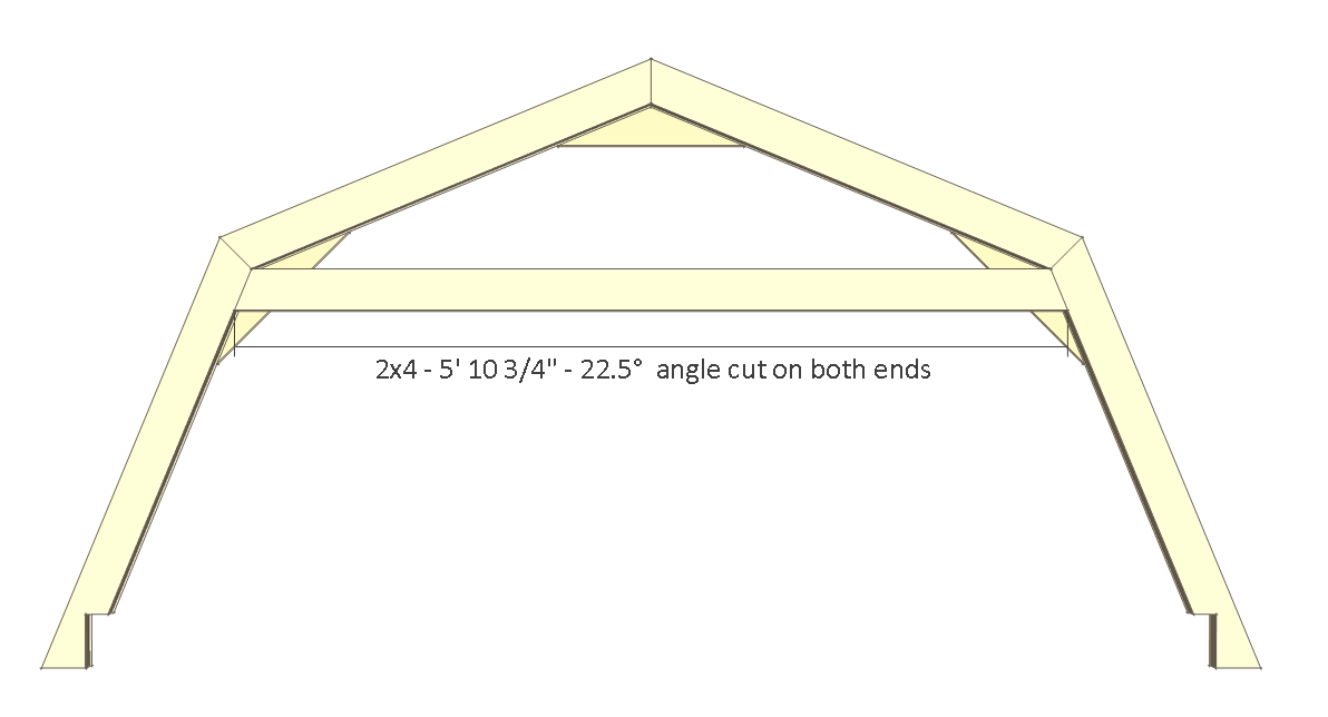 8x8 shed plans - small barn - back wall truss.