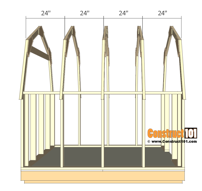 8x8 shed plans - small barn - roff truss.