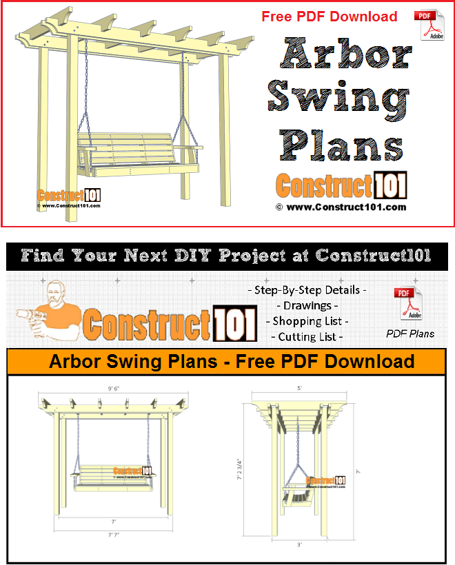 Arbor swing plans - free PDF download, material list, drawings, and step-by-step details.