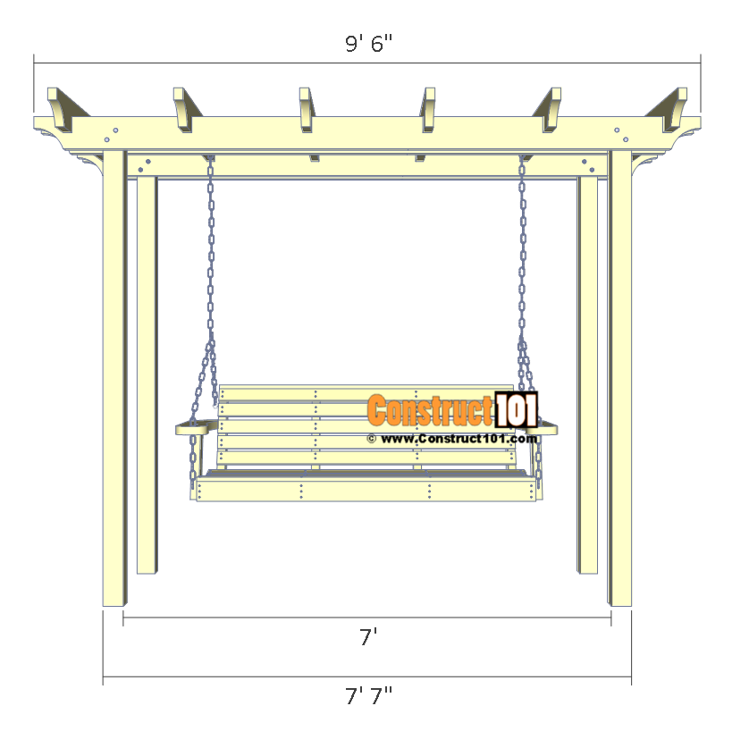 Arbor swing plans - front view.