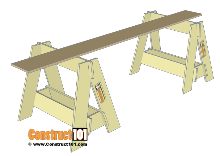 Knockdown sawhorse plans - DIY projects.