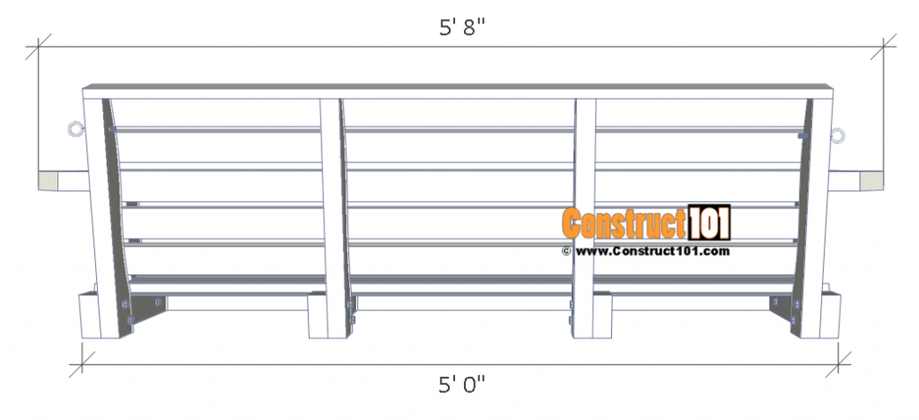 Porch swing plans - back view.