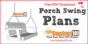 Porch swing plans, free PDF download, material list, drawings, and step-by-step instructions.