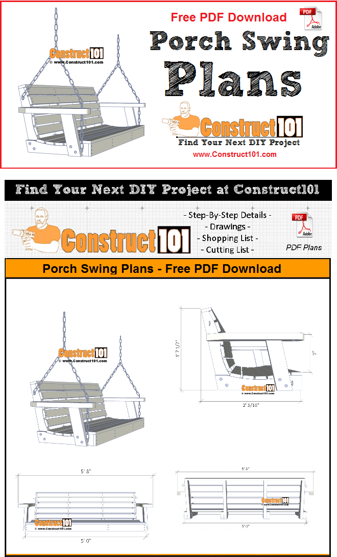 Porch swing plans - free PDF download, material list, drawings, and instructions. Free DIY projects at Construct101.
