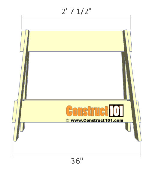 Knockdown sawhorse plans - front view
