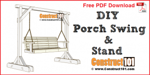 Porch swing stand - free PDF download, material list, at Construct101