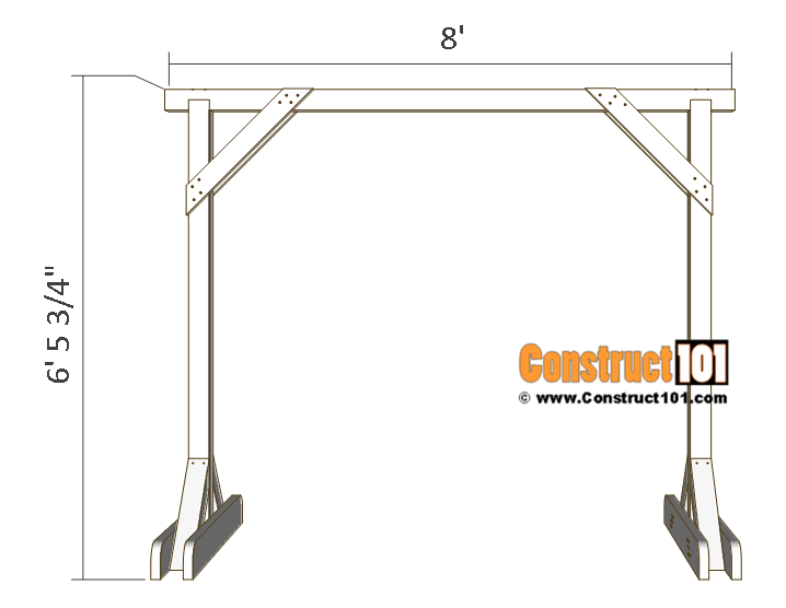 Porch swing stand plans - front view.