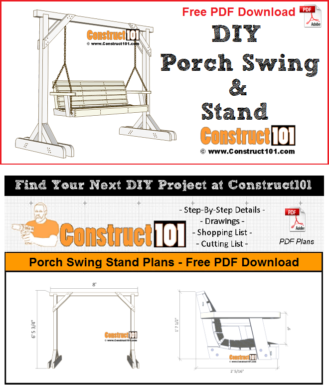 Porch swing stand plans - PDF download, material list, measurements, and drawings.